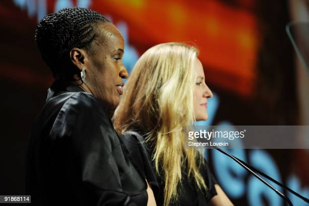 Olympic runner Jackie JoynerKersee and athlete Aimee Mullins speak onstage during the 30th Annual Salute To Women In Sports Awards at The...