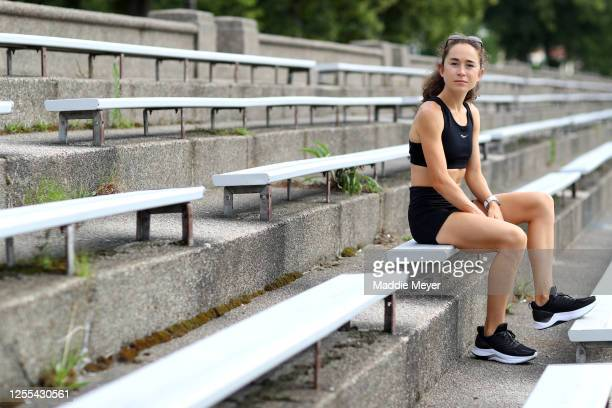 Olympic runner Molly Seidel poses for a portrait during a training session on July 10 2020 in Boston Massachusetts Athletes across the globe are now...