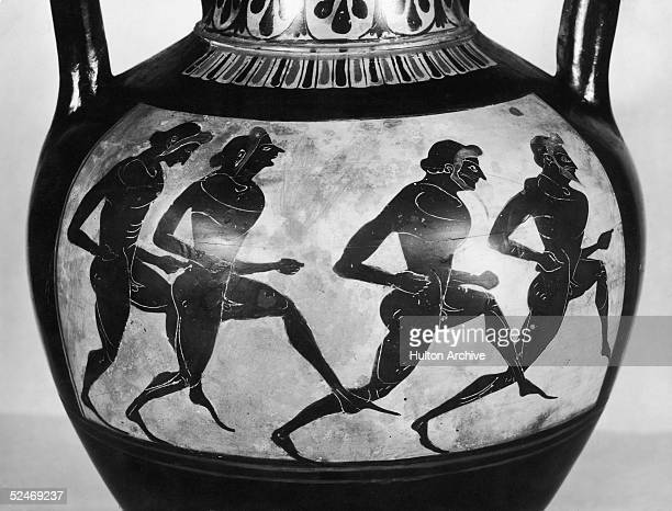 Olympic runners depicted on a late 6th Century BC Panathenaic amphora from Magna Graecia