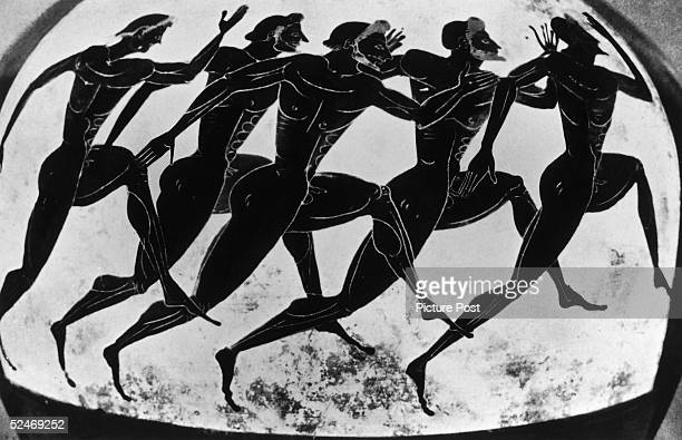 Olympic runners depicted on an ancient Greek vase given as a prize in the Panathenaea circa 525 BC Original Publication Picture Post 5953 Where the...