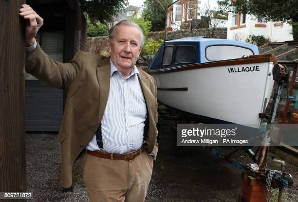 Olympic sailor Hamish Hardie who competed in the 1948 Olympics in the 6m class at home in Kilmacolm near Glasgow with his 15 foot outboard boat he...