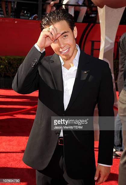 Olympic short track speedskater Apolo Ohno arrives at the 2010 ESPY Awards at Nokia Theatre LA Live on July 14 2010 in Los Angeles California