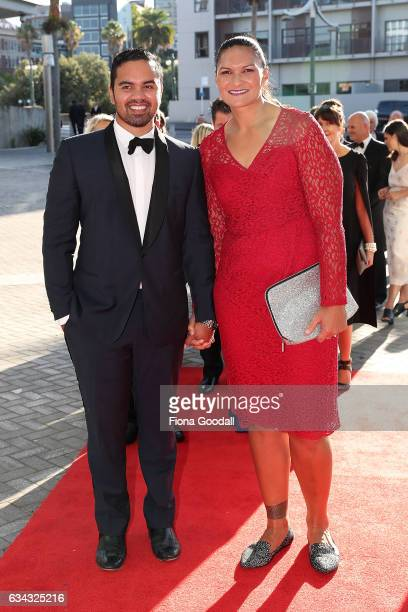 Olympic shot put medalist Valerie Adams and husband Gabriel Price arrive at the 54th Halberg Awards at Vector Arena on February 9 2017 in Auckland...
