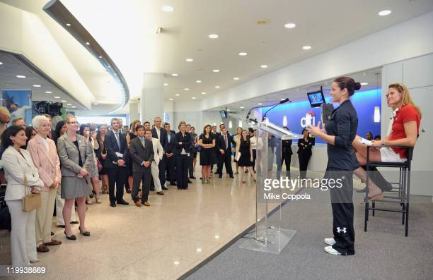 Olympic silver medalist Alicia Sacramone speaks to Citi employees at the Citi Team USA Flag-raising event at the financial center at Citi's...