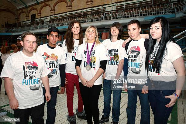 Olympic Silver Medalist Gemma Gibbons attends the NCS 2013 launch at Victoria Baths on January 23 2013 in Manchester England Gemma was on hand to...