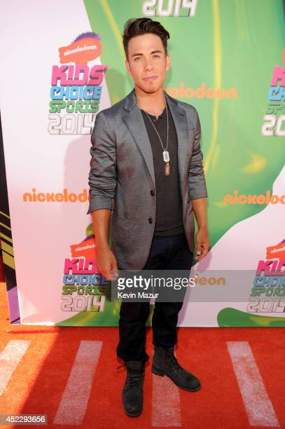 Olympic skater Apolo Ohno attends Nickelodeon Kids' Choice Sports Awards 2014 at UCLA's Pauley Pavilion on July 17 2014 in Los Angeles California