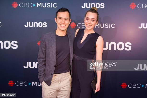 Olympic skater Patrick Chan and Tess Johnson attend the red carpet arrival at the 2018 Juno Awards at Rogers Arena on March 25 2018 in Vancouver...