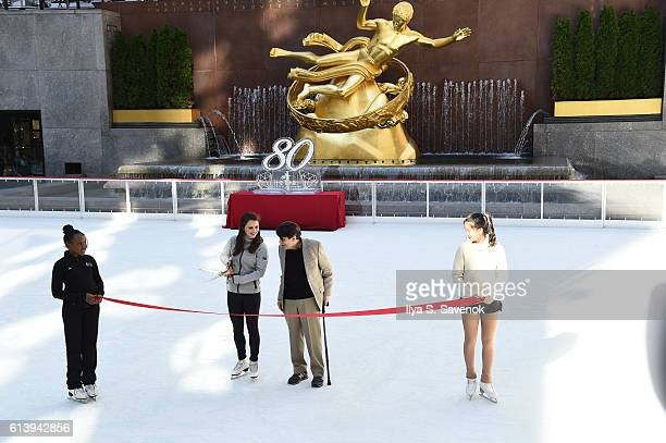 Olympic skater Sasha Cohen cuts the ribbon during The Rink At Rockefeller Center 80th Anniversary Season Opening at The Rink at Rockefeller Center on...