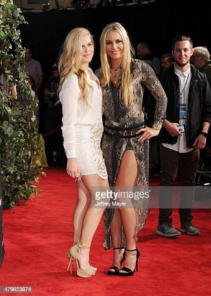 S Olympic skier Lindsey Vonn and sister Karin Kildow arrive at the 'Jurassic World' World Premiere at Dolby Theatre on June 9 2015 in Hollywood...