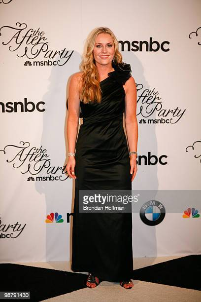Olympic skier Lindsey Vonn arrives at the MSNBC Afterparty following the White House Correspondents' Association dinner on May 1 2010 in Washington...