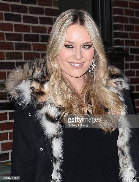 Olympic Skier Lindsey Vonn departs 'Late Show With David Letterman' at the Ed Sullivan Theater on December 22 2011 in New York City