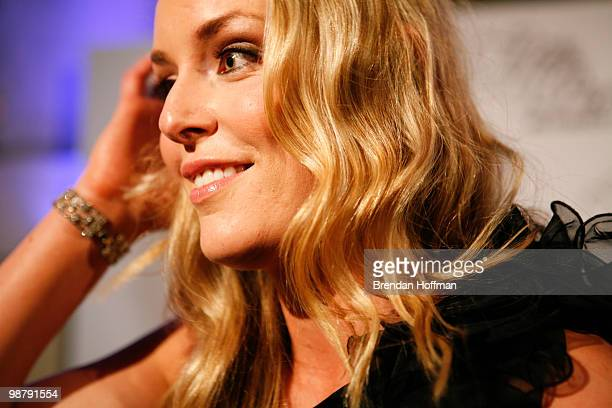 Olympic skier Lindsey Vonn talks to a reporter at the MSNBC Afterparty following the White House Correspondents' Association dinner on May 1 2010 in...
