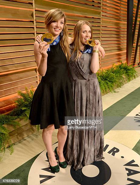 Olympic skiers Kaitlyn Farrington and Maddie Bowman attend the 2014 Vanity Fair Oscar Party Hosted By Graydon Carter on March 2 2014 in West...