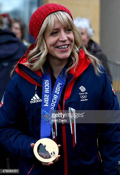 Olympic Snowboarder Jenny Jones meets local residents at Hambrook Primary School prior to taking a bus tour of her home city to celebrate her success...