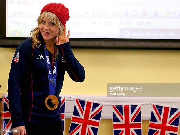 Olympic Snowboarder Jenny Jones meets pupils at Hambrook Primary School prior to taking a bus tour of her home city to celebrate her success in the...