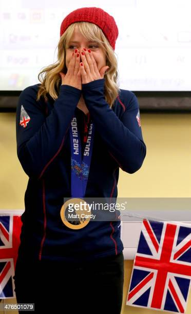 Olympic Snowboarder Jenny Jones meets pupils at Hambrook Primary School prior to her taking a bus tour of her home city to celebrate her success in...