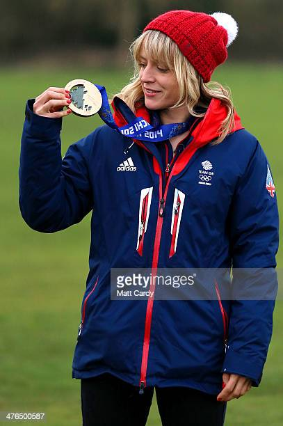 Olympic Snowboarder Jenny Jones poses for a photograph prior to taking a bus tour of her home city to celebrate her success in the Sochi Winter...