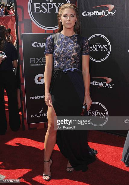 Olympic soccer player Alex Morgan arrives at The 2015 ESPYS at Microsoft Theater on July 15 2015 in Los Angeles California