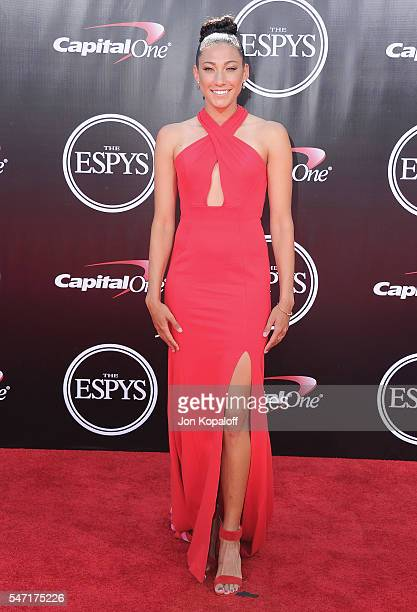 Olympic soccer player Christen Press arrives at The 2016 ESPYS at Microsoft Theater on July 13 2016 in Los Angeles California