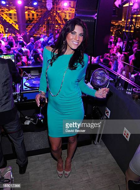 Olympic soccer player Hope Solo appears at the Chateau Nightclub Gardens at the Paris Las Vegas on September 28 2012 in Las Vegas Nevada