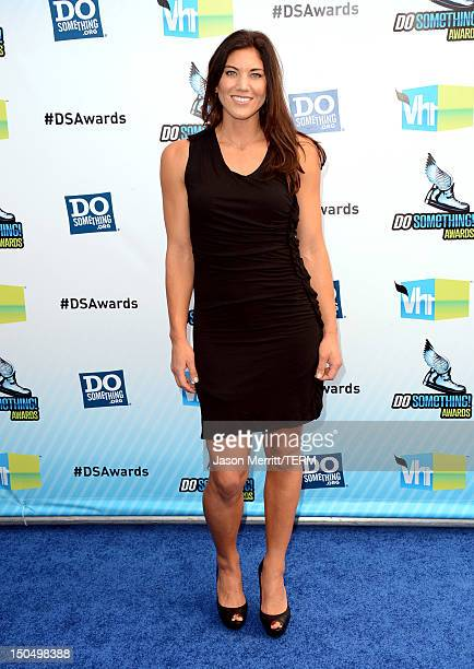 Olympic soccer player Hope Solo arrives at the 2012 Do Something Awards at Barker Hangar on August 19 2012 in Santa Monica California