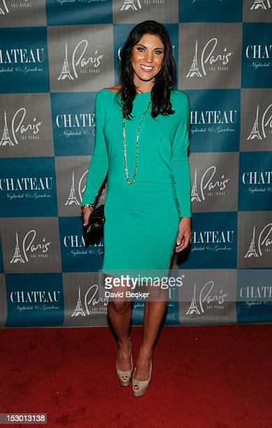 Olympic soccer player Hope Solo arrives at the Chateau Nightclub Gardens at the Paris Las Vegas on September 28 2012 in Las Vegas Nevada