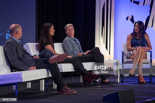 Olympic Soccer players Abby Wambach and Ali Krieger participate on a panel along with Dan Levy and ESPN Correspondent Jessica Mendoza during the...
