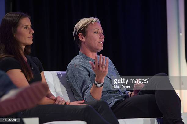 Olympic Soccer players Abby Wambach and Ali Krieger speak on a panel during the espnW Summit 2015 at St Regis Monarch Resort on October 14 2015 in...