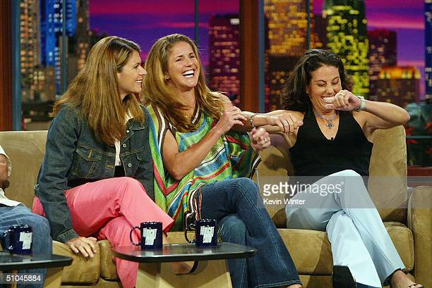 Olympic soccer players Mia Hamm Brandi Chastain and Julie Foudy appear on The Tonight Show with Jay Leno at the NBC Studios on July 9 2004 in Burbank...