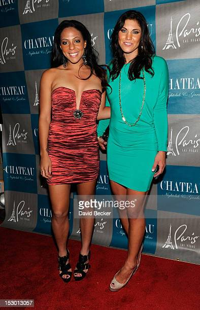 Olympic soccer players Sydney Leroux and Hope Solo arrive at the Chateau Nightclub Gardens at the Paris Las Vegas on September 28 2012 in Las Vegas...