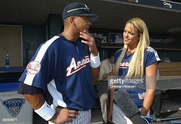 """Olympic softball athlete Jennie Finch talks wih Alex Rodriguez of the New York Yankees for """"This Week In Baseball"""" before the start of the 76th Major..."""