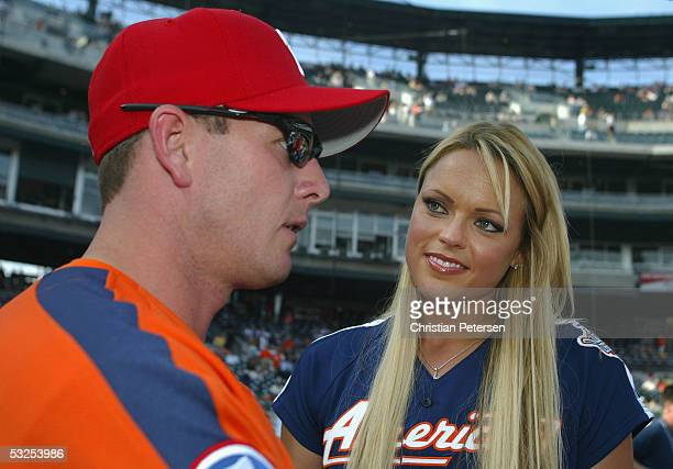 """Olympic softball athlete Jennie Finch talks wih Billy Wagner of the Philadelphia Phillies for """"This Week In Baseball"""" before the start of the 76th..."""