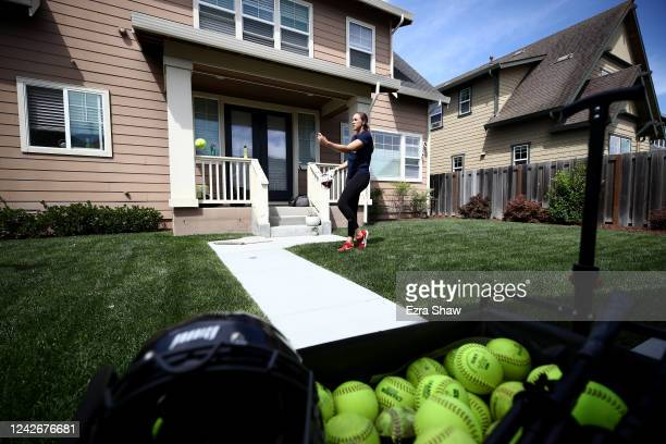Olympic softball pitcher Monica Abbott works out at home during a training session on June 02 2020 in Salinas California Abbott was on the United...