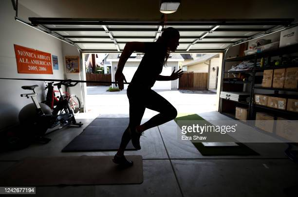 Olympic softball pitcher Monica Abbott works out in her garage during a training session on June 02 2020 in Salinas California Abbott was on the...