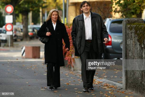 Olympic speed skating champion Claudia Pechstein and her manager Ralf Grengel walks towards the of Arbitration for Sport on October 22 2009 in...