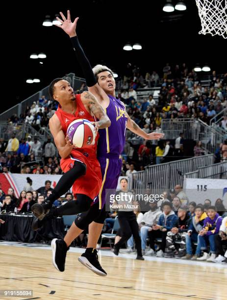 Olympic sprinter Andre De Grasse and actor Kris Wu play during the NBA AllStar Celebrity Game 2018 presented by Ruffles at Verizon Up Arena at LACC...