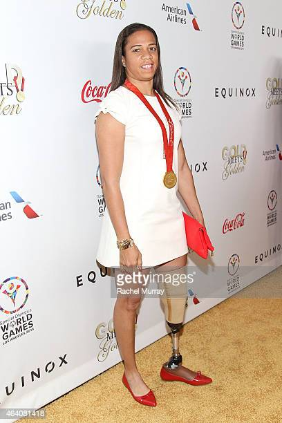 Olympic Sprinter April Holmes attends CW3PR presents Gold Meets Golden at Equinox Sports Club on February 21 2015 in Los Angeles California