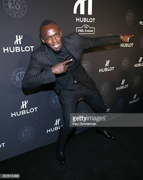 Olympic sprinter Usain Bolt attends the Hublot Celebrates 10 Year Anniversary Of All Black Collection at Solomon R Guggenheim Museum on April 19 2016...