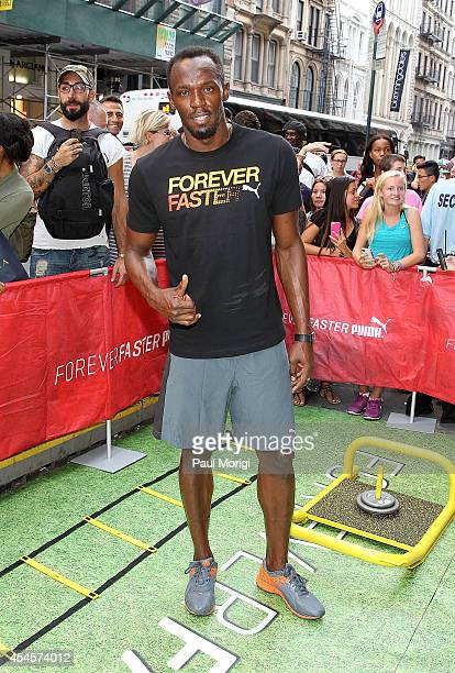 Olympic sprinter Usain Bolt attends The PUMA Store In Soho Forever Faster Training Event on September 3 2014 in New York City