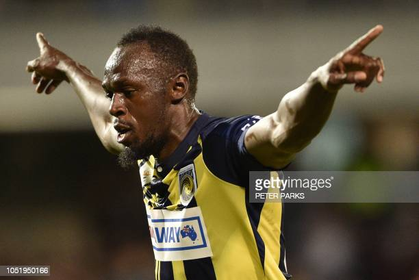Olympic sprinter Usain Bolt celebrates scoring a goal for ALeague football club Central Coast Mariners in his first competitive start for the club...