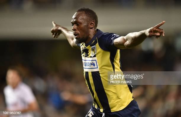 TOPSHOT Olympic sprinter Usain Bolt celebrates scoring a goal for ALeague football club Central Coast Mariners in his first competitive start for the...