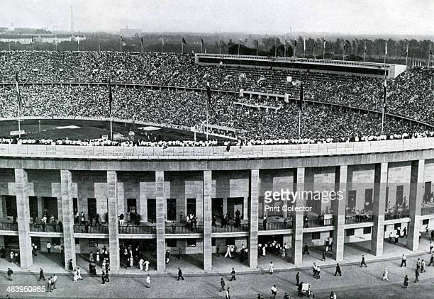 Olympic stadium, Berlin, 1936. Exterior view of the stadium, designed by Werner March. A print from Olympia 1936, Die Olympischen Spiele 1936, Volume...