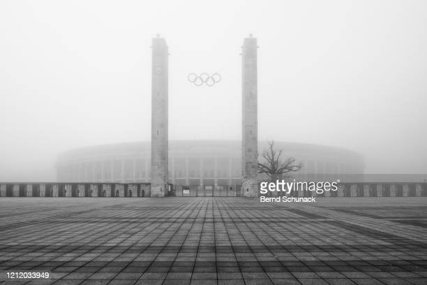 olympic stadium berlin in the fog - bernd schunack stock pictures, royalty-free photos & images