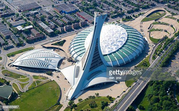 olympic stadium in montreal - montreal olympic stadium stock photos and pictures