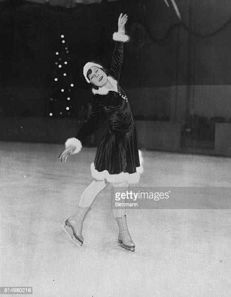 Olympic star and three times world figure skating champion Sonja Henie practices on the ice at Madison Square Garden