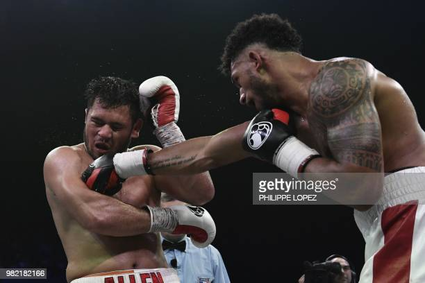 Olympic super heavyweight gold medalist Tony Yoka of France fights against British domestic level heavyweight Dave Allen during their bout on June 23...