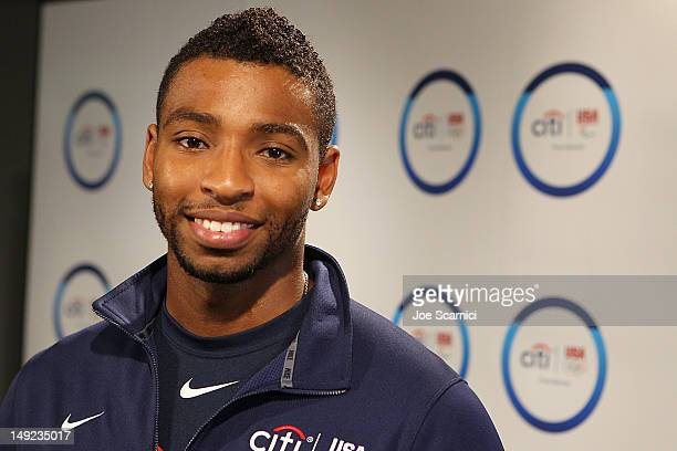S Olympic swimmer Cullen Jones attends Citi's Signature Step event at USA House on July 25 2012 in London England