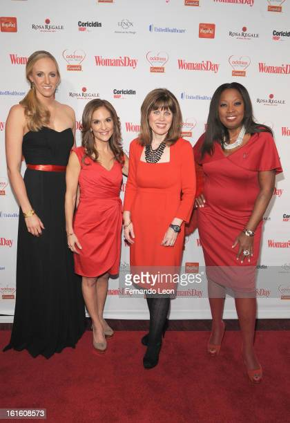 Olympic swimmer Dana Vollmer NBC's Joy Bauer AHA CEO Nancy Brown and TV Personality Star Jones pose for a photo as they attend the Woman's Day Red...