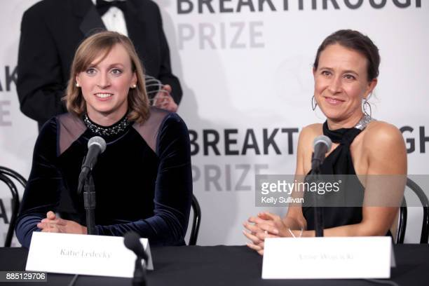 Olympic swimmer Katie Ledecky and CEO of 23andMe Anne Wojcicki attend the 2018 Breakthrough Prize at NASA Ames Research Center on December 3 2017 in...
