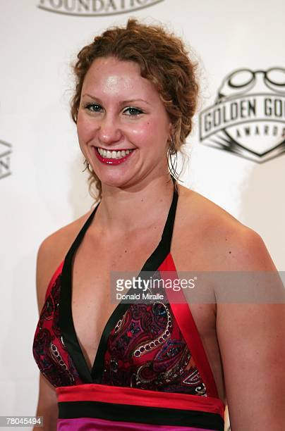 Olympic swimmer Maragret Hoelzer arrives on the red carpet for the Fourth Annual Golden Goggles Awards at the Beverly Hilton Hotel on November 18...